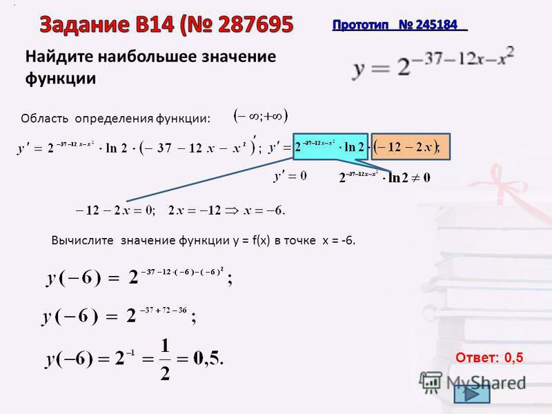 Найдите наибольшее значение функции. Область определения функции: Вычислите значение функции у = f(x) в точке х = -6. Ответ: 0,5