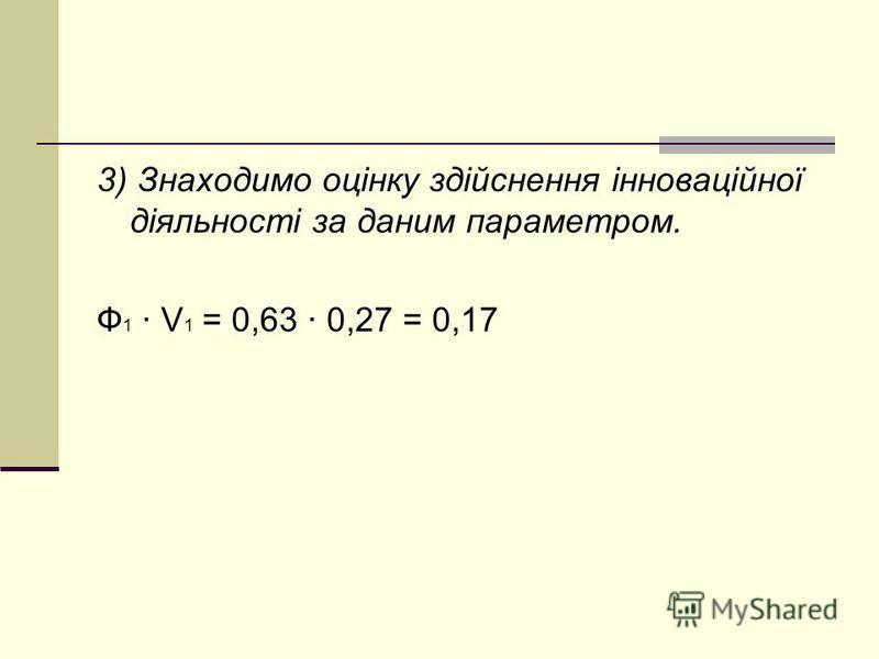 3) Знаходимо оцінку здійснення інноваційної діяльності за даним параметром. Ф 1 · V 1 = 0,63 · 0,27 = 0,17