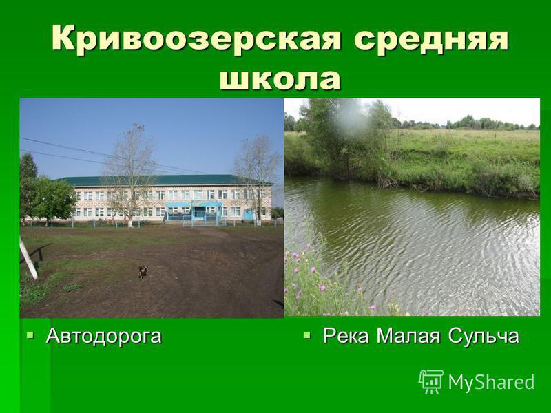 Кривоозерская средняя школа Автодорога Автодорога Река Малая Сульча Река Малая Сульча