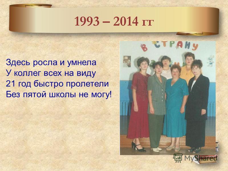 1993 – 2014 гг Здесь росла и умнела У коллег всех на виду 21 год быстро пролетели Без пятой школы не могу!