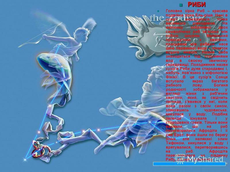 РИБИ РИБИ Головна зірка Риб – красива подвійна зірка Ель-ріша. Нині в сузір'ї знаходиться точка весняного рівнодення. На малюнку зображено двох символічних риб зв'язано між собою шнуром. Маленький прямокутник з хвилями, поміщений між рибами, несе іде
