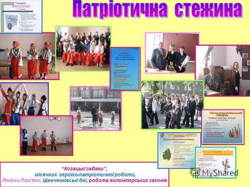 Козацькі забави, місячник героїко-патріотичної роботи, Лінійки Пам'яті, Шевченківські дні, робота волонтерських загонів