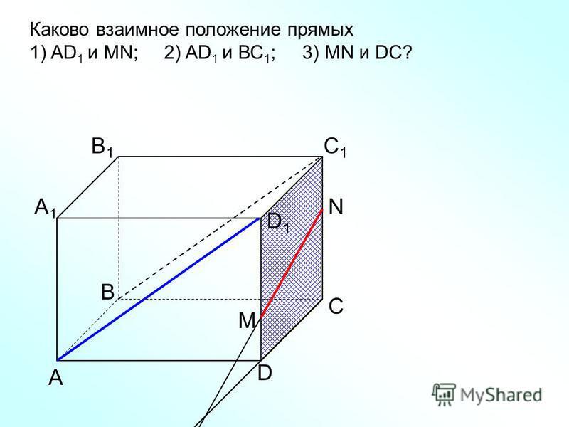 А D С В B1B1 С1С1 D1D1 А1А1 Каково взаимное положение прямых 1) AD 1 и МN; 2) AD 1 и ВС 1 ; 3) МN и DC? N M
