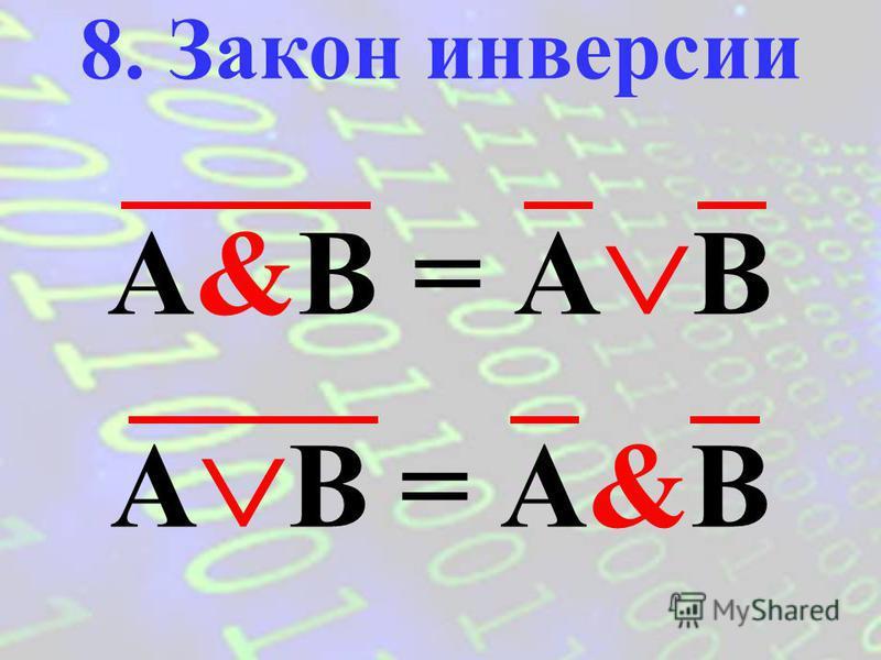 (A B)&(A B) = B (A & B) (A&B) = B 7. Закон исключения (склеивания)