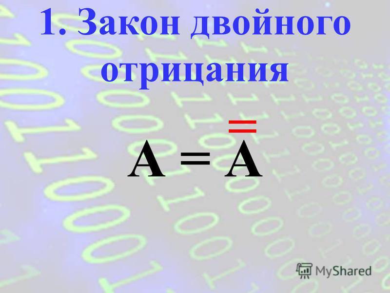 Законы логики отражают важные закономерности логического мышления. Законы записываются в виде формул, которые позволяют проводить эквивалентные преобразования логических выражений.