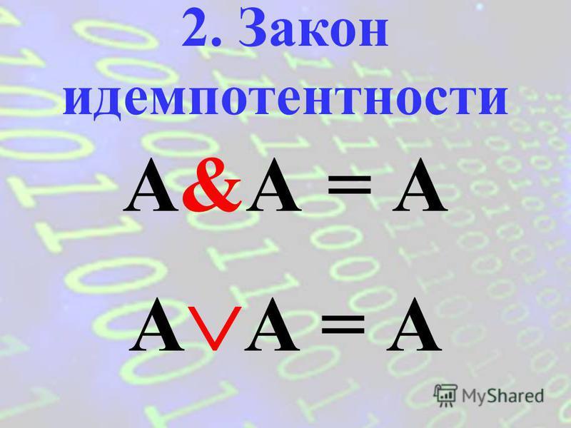 A = A 1. Закон двойного отрицания