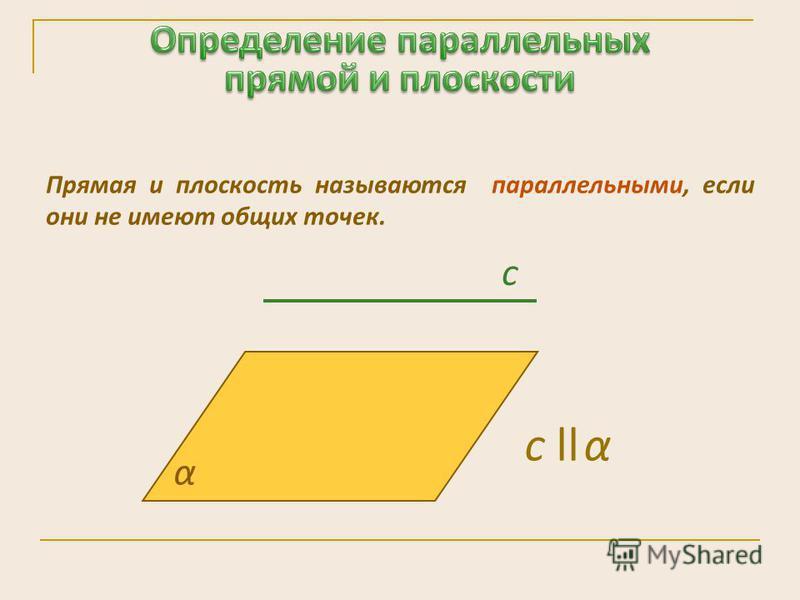 Прямая и плоскость называются параллельными, если они не имеют общих точек. α c с ll α
