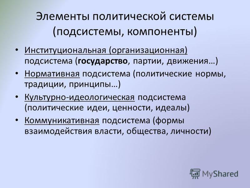 Элементы политической системы (подсистемы, компоненты) Институциональная (организационная) подсистема (государство, партии, движения…) Нормативная подсистема (политические нормы, традиции, принципы…) Культурно-идеологическая подсистема (политические