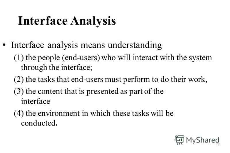 11 Interface Analysis Interface analysis means understanding (1) the people (end-users) who will interact with the system through the interface; (2) the tasks that end-users must perform to do their work, (3) the content that is presented as part of