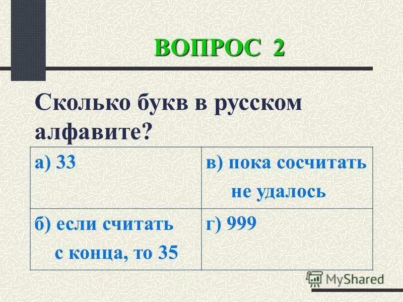 ВОПРОС 2 Сколько букв в русском алфавите? а) 33 в) пока сосчитать не удалось б) если считать с конца, то 35 г) 999