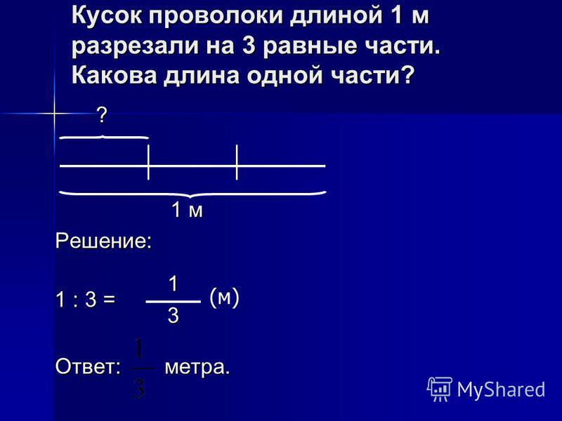 Кусок проволоки длиной 1 м разрезали на 3 равные части. Какова длина одной части? ? ? ? ? 1 м 1 м Решение: Ответ: метра. 1 : 3 = 1 3 (м)