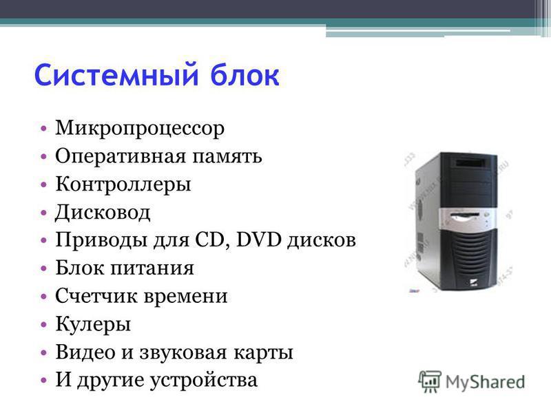 Системный блок Микропроцессор Оперативная память Контроллеры Дисковод Приводы для CD, DVD дисков Блок питания Счетчик времени Кулеры Видео и звуковая карты И другие устройства