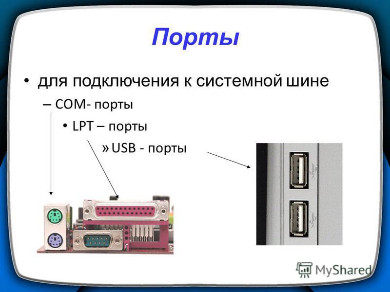 Порты для подключения к системной шине – COM- порты LPT – порты » USB - порты