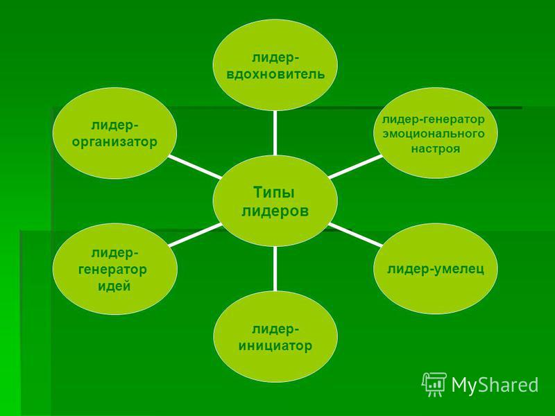 Типы лидеров лидер- вдохновитель лидер-генератор эмоционального настроя лидер-умелец лидер- инициатор лидер- генератор идей лидер- организатор