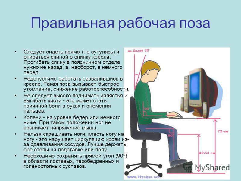 Правильная рабочая поза Следует сидеть прямо (не сутулясь) и опираться спиной о спинку кресла. Прогибать спину в поясничном отделе нужно не назад, а, наоборот, в немного перед. Недопустимо работать развалившись в кресле. Такая поза вызывает быстрое у