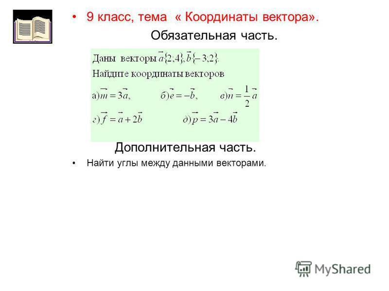 9 класс, тема « Координаты вектора». Обязательная часть. Дополнительная часть. Найти углы между данными векторами.