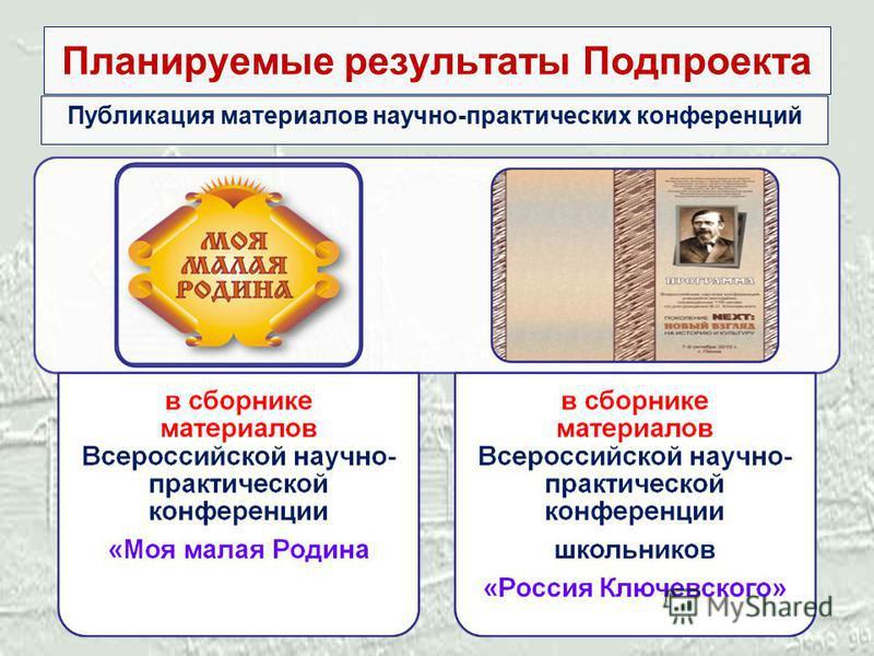 Планируемые результаты Подпроекта Публикация материалов научно-практических конференций