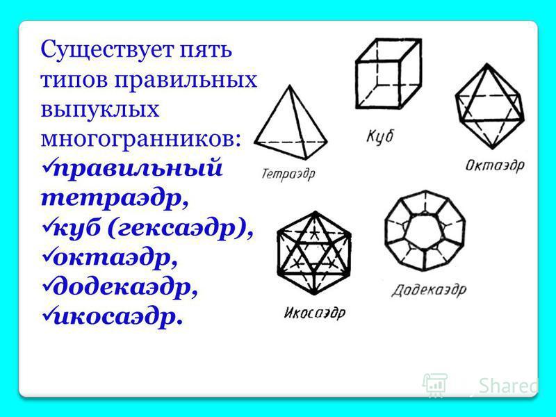 ПРАВИЛЬНЫЕ МНОГОГРАННИКИ Выпуклый многогранник называется правильным, если его грани являются правильными многоугольниками с одним и тем же числом сторон и в каждой вершине многогранника сходится одно и то же число ребер.