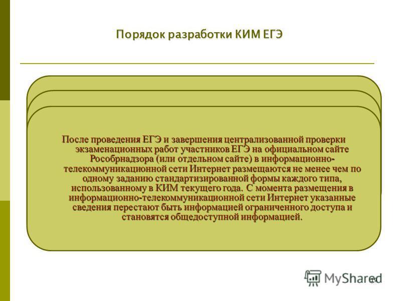 19 Порядок разработки КИМ ЕГЭ Рособрнадзор ежегодно публикует на своем официальном сайте (или отдельном сайте) в информационно-телекоммуникационной сети Интернет пояснительную записку о структуре и содержании КИМ (кодификатор и спецификацию) и демонс