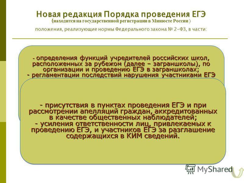 3 - определения функций учредителей российских школ, расположенных за рубежом (далее – заграншколы), по организации и проведению ЕГЭ в заграншколах; - регламентации последствий нарушения участниками ЕГЭ и лицами, привлекаемыми к его проведению, нормы