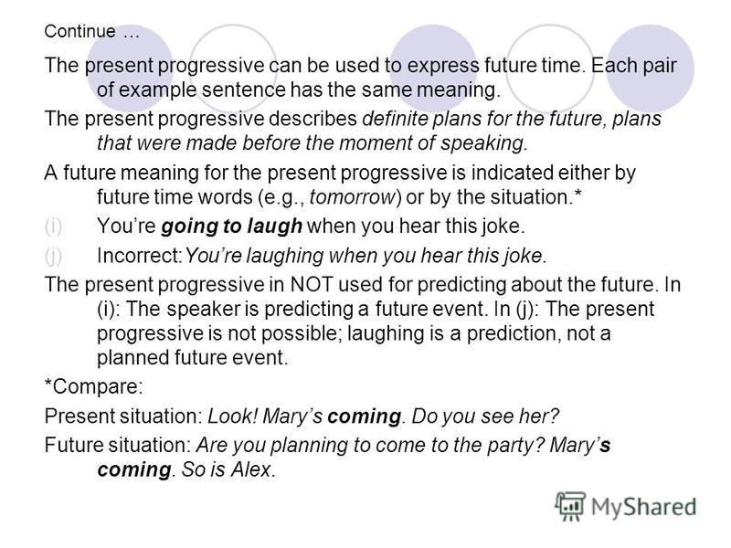 Continue … The present progressive can be used to express future time. Each pair of example sentence has the same meaning. The present progressive describes definite plans for the future, plans that were made before the moment of speaking. A future m
