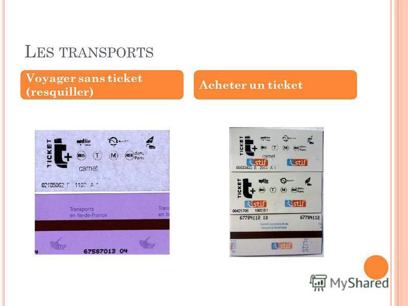 L ES TRANSPORTS Voyager sans ticket (resquiller) Acheter un ticket