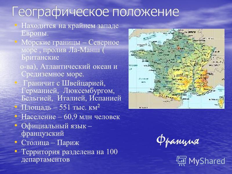 Находится на крайнем западе Европы. Морские границы – Северное море, пролив Ла-Манш ( Британские о-ва), Атлантический океан и Средиземное море. Граничит с Швейцарией, Германией, Люксембургом, Бельгией, Италией, Испанией Площадь – 551 тыс. км 2 Населе