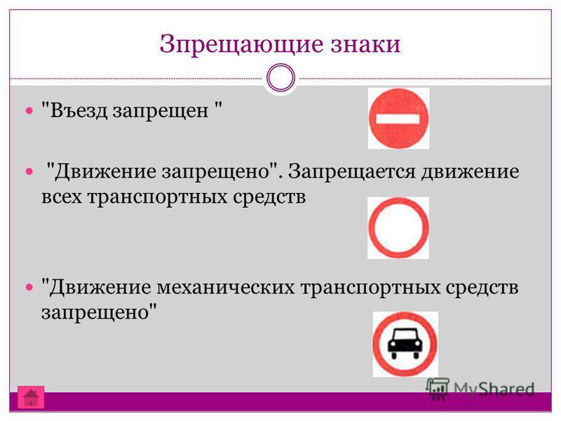 Зпрещающие знаки Въезд запрещен  Движение запрещено. Запрещается движение всех транспортных средств Движение механических транспортных средств запрещено