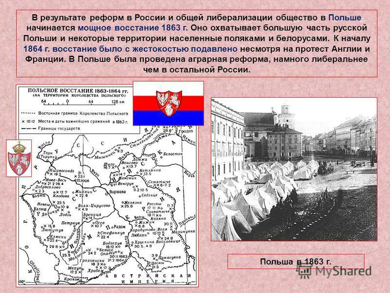 В результате реформ в России и общей либерализации общество в Польше начинается мощное восстание 1863 г. Оно охватывает большую часть русской Польши и некоторые территории населениные поляками и белорусами. К началу 1864 г. восстание было с жестокост