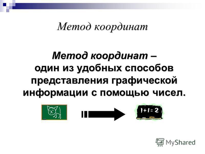 Метод координат – один из удобных способов представления графической информации с помощью чисел.