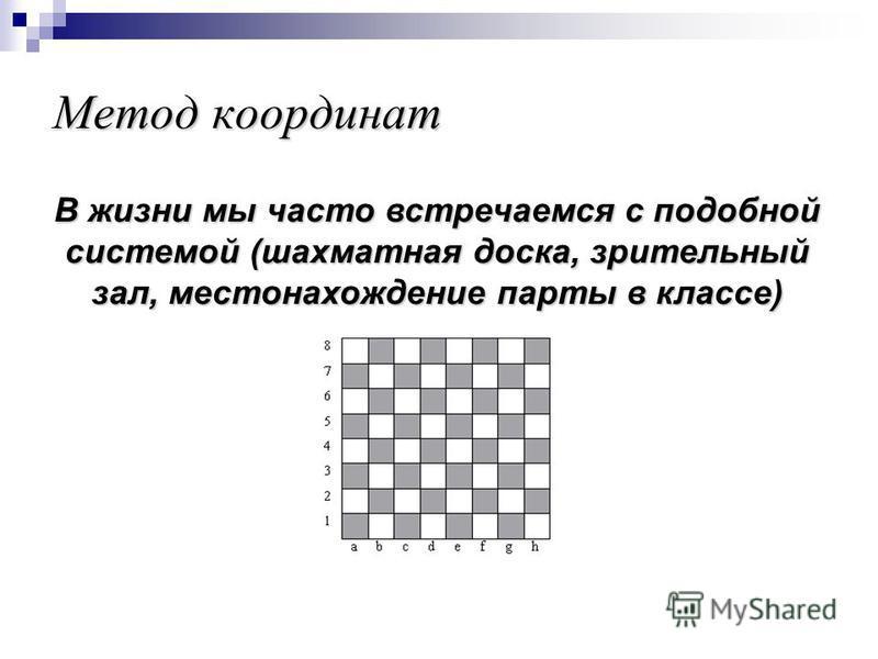 В жизни мы часто встречаемся с подобной системой (шахматная доска, зрительный зал, местонахождение парты в классе)