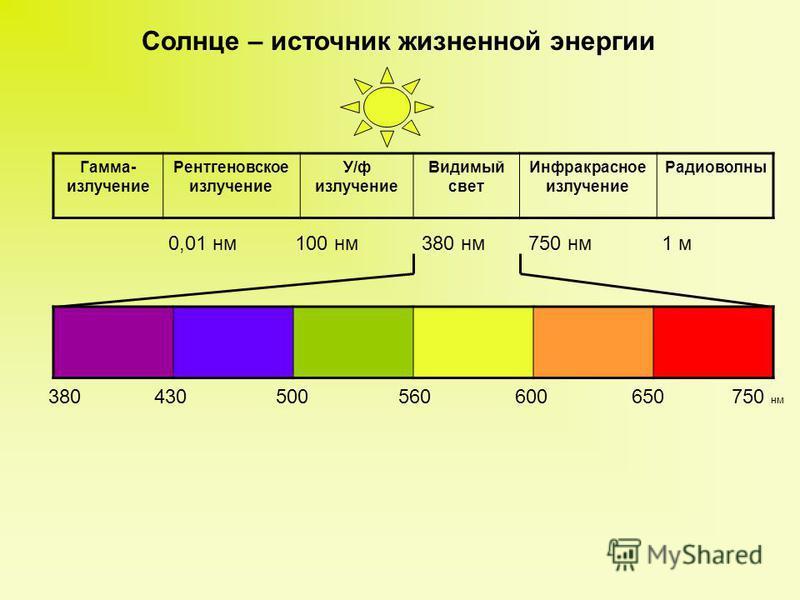 Солнце – источник жизненной энергии Гамма- излучение Рентгеновское излучение У/ф излучение Видимый свет Инфракрасное излучение Радиоволны 0,01 нм 100 нм 380 нм 750 нм 1 м 380 430 500 560 600 650 750 нм