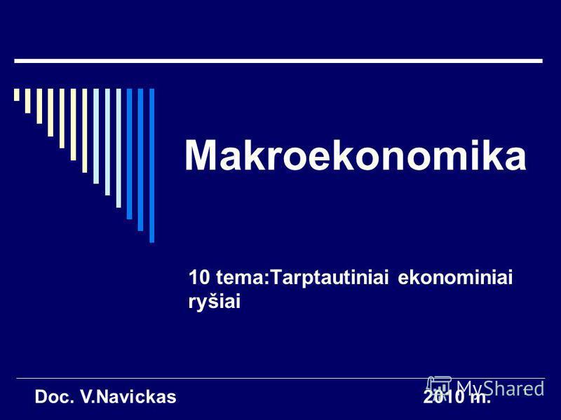 1 Makroekonomika 10 tema:Tarptautiniai ekonominiai ryšiai Doc. V.Navickas2010 m.