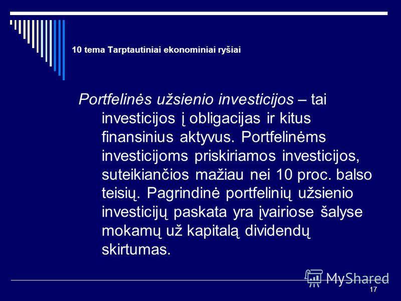 17 10 tema Tarptautiniai ekonominiai ryšiai Portfelinės užsienio investicijos – tai investicijos į obligacijas ir kitus finansinius aktyvus. Portfelinėms investicijoms priskiriamos investicijos, suteikiančios mažiau nei 10 proc. balso teisių. Pagrind