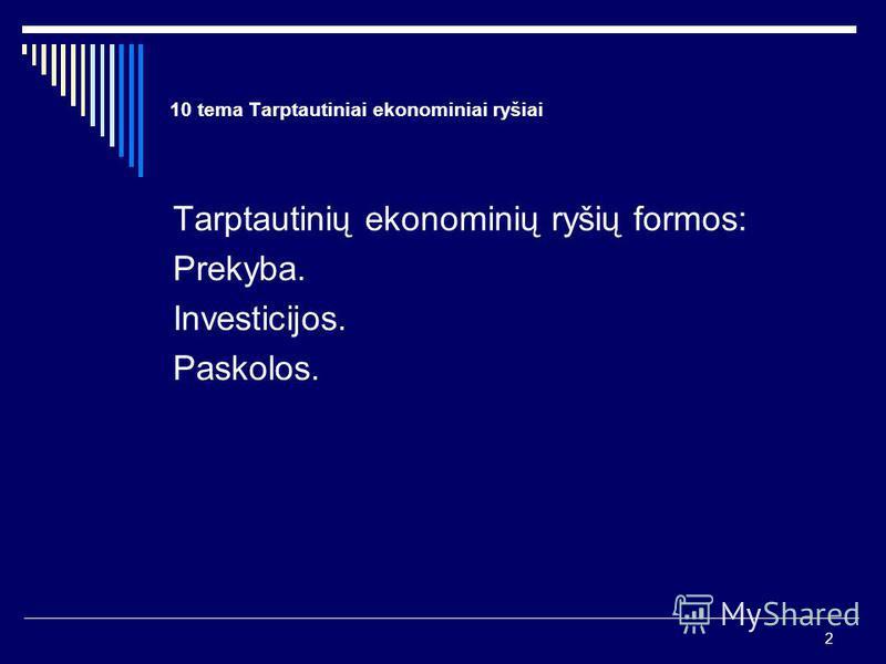 2 10 tema Tarptautiniai ekonominiai ryšiai Tarptautinių ekonominių ryšių formos: Prekyba. Investicijos. Paskolos.