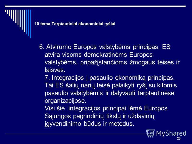 23 10 tema Tarptautiniai ekonominiai ryšiai 6. Atvirumo Europos valstybėms principas. ES atvira visoms demokratinėms Europos valstybėms, pripažįstančioms žmogaus teises ir laisves. 7. Integracijos į pasaulio ekonomiką principas. Tai ES šalių narių te