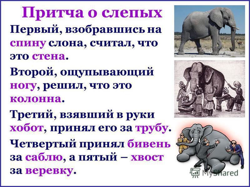 Притча о слепых Первый, взобравшись на спину слона, считал, что это стена. Второй, ощупывающий ногу, решил, что это колонна. Третий, взявший в руки хобот, принял его за трубу. Четвертый принял бивень за саблю, а пятый – хвост за веревку.
