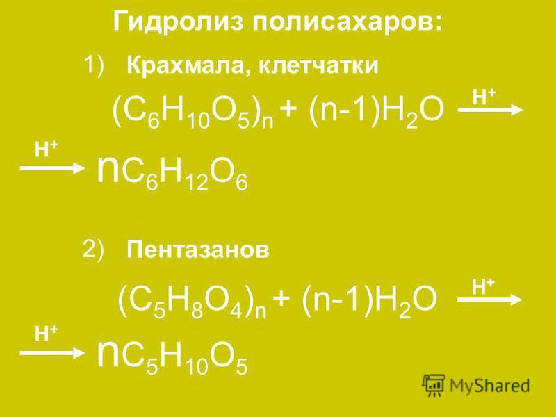 (C 6 H 10 O 5 ) n + (n-1)H 2 O n C 6 H 12 O 6 H+H+ H+H+ (C 5 H 8 O 4 ) n + (n-1)H 2 O H+H+ n C 5 H 10 O 5 H+H+ Гидролиз полисахаридов: Крахмала, клетчатки 1) Пентазанов 2)