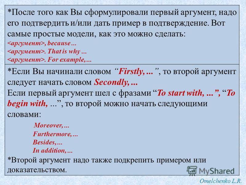 Omelchenko L.R. *После того как Вы сформулировали первый аргумент, надо его подтвердить и/или дать пример в подтверждение. Вот самые простые модели, как это можно сделать:, because.... That is why.... For example,... *Если Вы начинали словом Firstly,