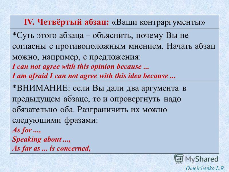 Omelchenko L.R. I can not agree with this (these) point(s) of view. IV. Четвёртый абзац: «Ваши контраргументы» *Суть этого абзаца – объяснить, почему Вы не согласны с противоположным мнением. Начать абзац можно, например, с предложения: I can not agr