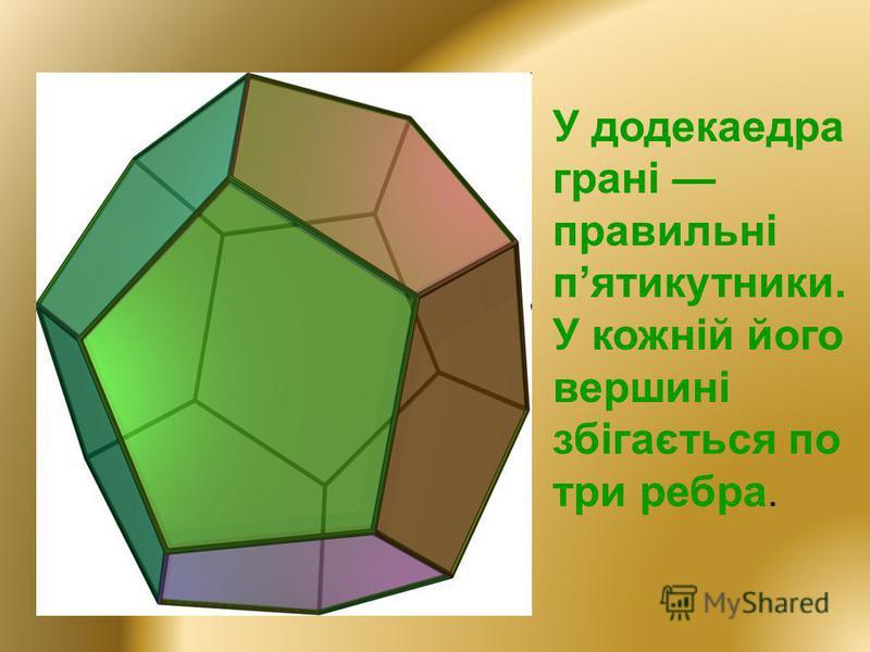 У додекаедра грані правильні пятикутники. У кожній його вершині збігається по три ребра.