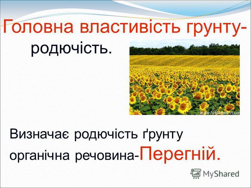 Головна властивість грунту- родючість. Визначає родючість ґрунту органічна речовина- Перегній.