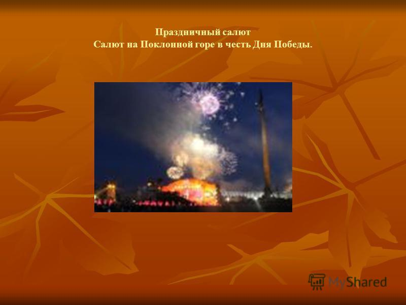 Праздничный салют Салют на Поклонной горе в честь Дня Победы.
