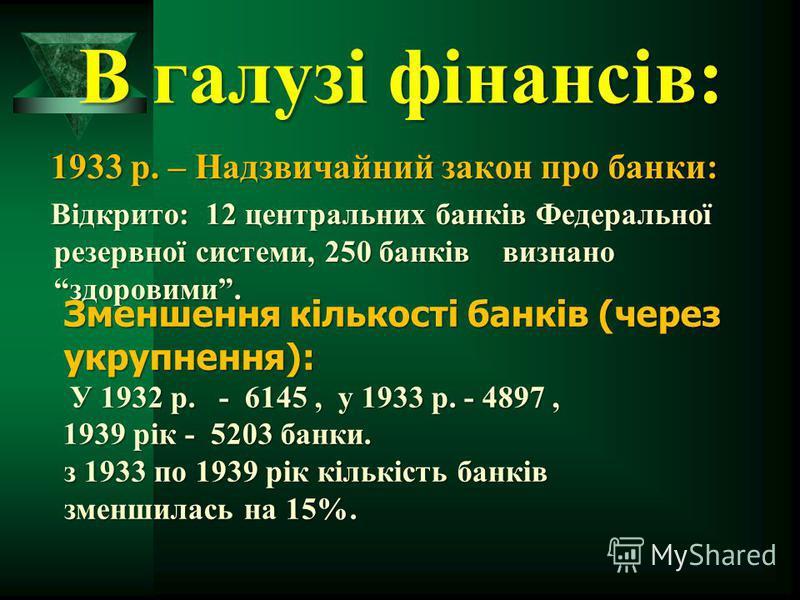 В галузі фінансів: 1933 р. – Надзвичайний закон про банки: Відкрито: 12 центральних банків Федеральної резервної системи, 250 банків визнано здоровими. Відкрито: 12 центральних банків Федеральної резервної системи, 250 банків визнано здоровими. Зменш