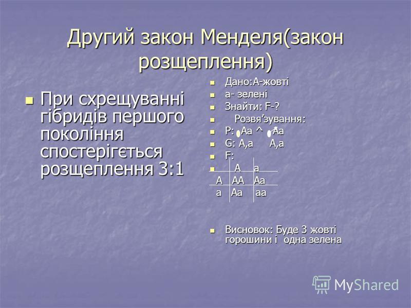 Другий закон Менделя(закон розщеплення) При схрещуванні гібридів першого покоління спостерігється розщеплення 3:1 При схрещуванні гібридів першого покоління спостерігється розщеплення 3:1 Дано:А-жовті Дано:А-жовті а- зелені а- зелені Знайти: F-? Знай