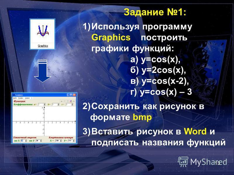 13 Задание 1: 1)Используя программу Graphics построить графики функций: а) y=cos(x), б) y=2cos(x), в) y=cos(x-2), г) y=cos(x) – 3 2)Сохранить как рисунок в формате bmp 3)Вставить рисунок в Word и подписать названия функций
