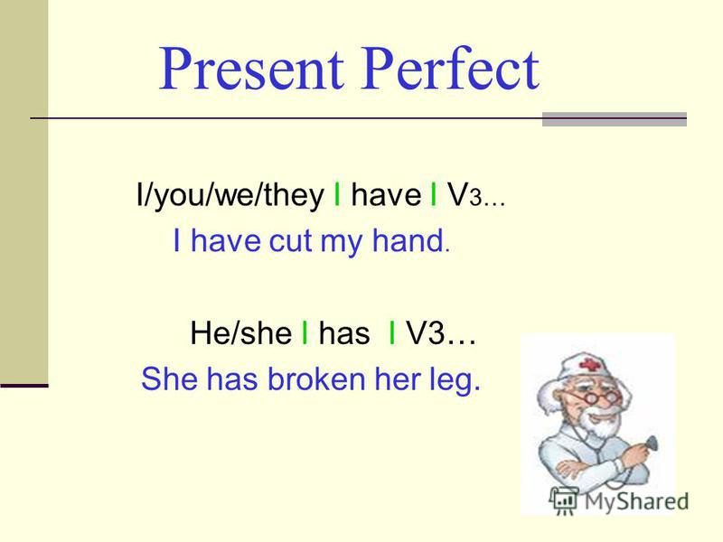 Present Perfect I/you/we/they I have I V 3… I have cut my hand. He/she I has I V3… She has broken her leg.