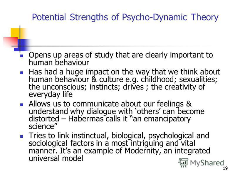 19 Potential Strengths of Psycho-Dynamic Theory Opens up areas of study that are clearly important to human behaviour Has had a huge impact on the way that we think about human behaviour & culture e.g. childhood; sexualities; the unconscious; instinc