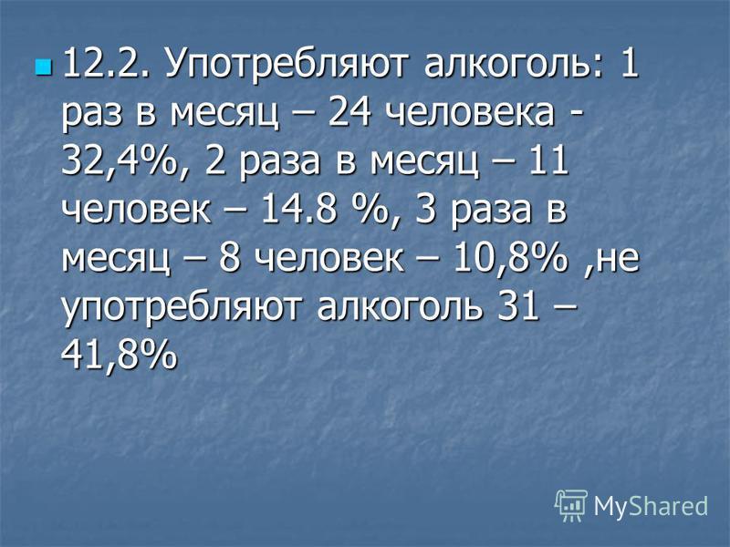 12.2. Употребляют алкоголь: 1 раз в месяц – 24 человека - 32,4%, 2 раза в месяц – 11 человек – 14.8 %, 3 раза в месяц – 8 человек – 10,8%,не употребляют алкоголь 31 – 41,8% 12.2. Употребляют алкоголь: 1 раз в месяц – 24 человека - 32,4%, 2 раза в мес