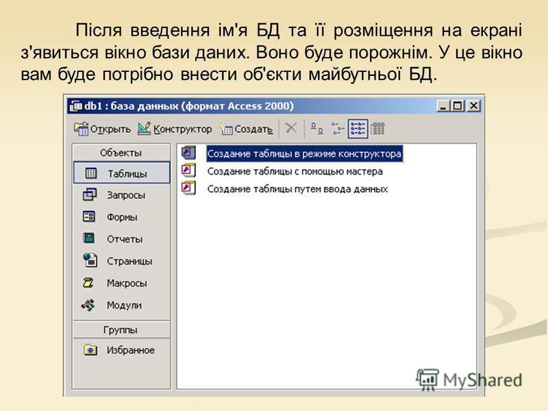Після введення ім'я БД та її розміщення на екрані з'явиться вікно бази даних. Воно буде порожнім. У це вікно вам буде потрібно внести об'єкти майбутньої БД.